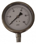 "2154DXX100, 2"" PRESSURE GAUGE 100 PSI STAINLESS STEEL"