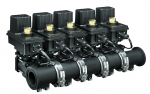 "455BEC-24-COC, 450 SERIES 5 SECTION ON/OFF VALVE MANIFOLD, EC SERIES WITH BARE WIRE, 75 SERIES FLANGE (M200) INLETS X 1"" FPT OUTLETS"